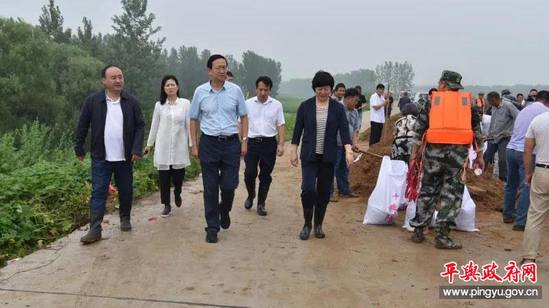 平舆县委副书记、县长赵峰到西洋店镇检查指导防汛工作